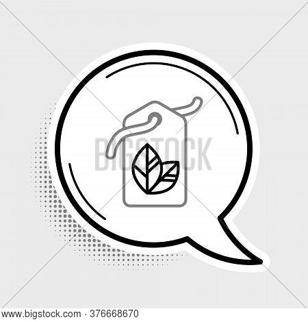 Line Tag With Leaf Symbol Icon Isolated On Grey Background. Banner, Label, Tag, Logo, Sticker For Ec
