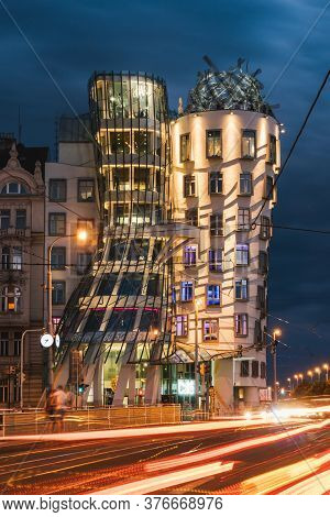 Prague, Czech Republic - July 10 2020: Dancing House Called Fred And Ginger Or Tancici Dum In Czech