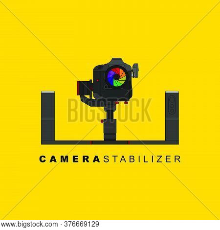 Gimbal Stabilizer With Dslr Camera Vector Illustration. Good Template For Studio Or Photography Desi