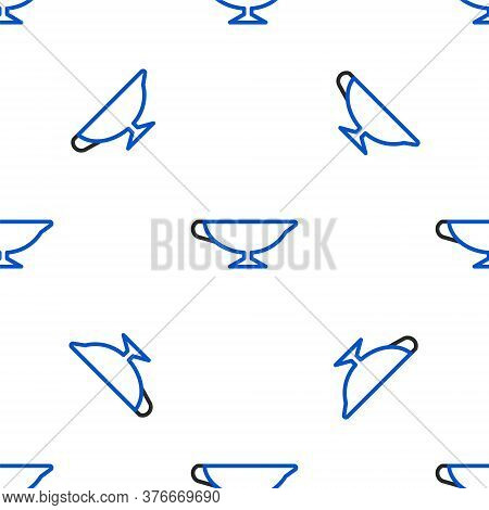 Line Sauce Boat Icon Isolated Seamless Pattern On White Background. Sauce Bowl. Colorful Outline Con