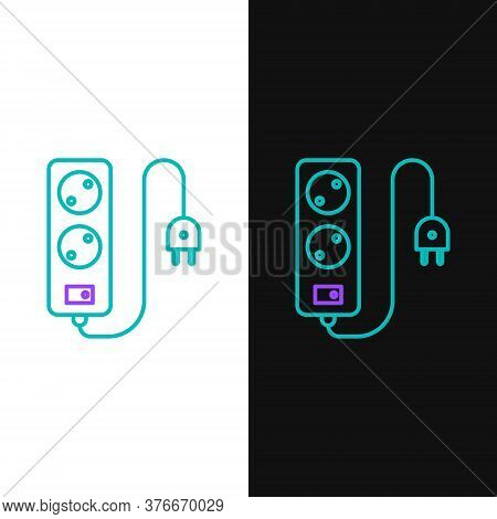 Line Electric Extension Cord Icon Isolated On White And Black Background. Power Plug Socket. Colorfu