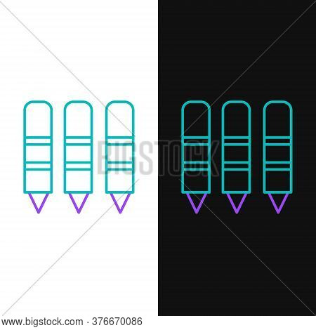 Line Wax Crayons For Drawing Icon Isolated On White And Black Background. Colorful Outline Concept.