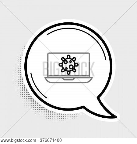 Line Bacteria On Laptop Icon Isolated On Grey Background. Bacteria And Germs, Cell Cancer, Microbe,