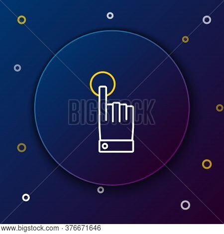 Line Hand Touch And Tap Gesture Icon Isolated On Blue Background. Click Here, Finger, Touch, Pointer