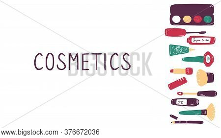 Make Up And Beauty Symbols Icon Set. Female Collection Of Different Products Accessoires For Skin Ca