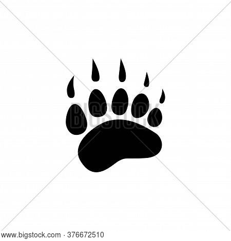 Black Bear Trace Silhouette. Vector Flat Illustration. Polar Bear Paw
