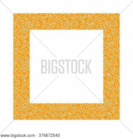 Orange Square With White Doodle-style Doodles.interesting Unusual Ethnic Frame.simple Doodles.vector