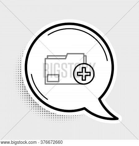 Line Add New Folder Icon Isolated On Grey Background. New Folder File. Copy Document Icon. Add Attac