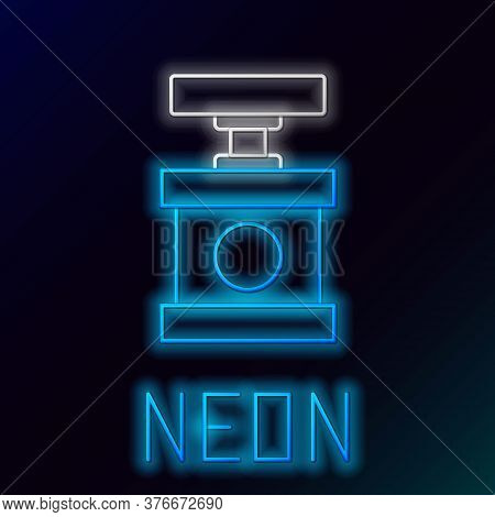 Glowing Neon Line Handle Detonator For Dynamite Icon Isolated On Black Background. Colorful Outline