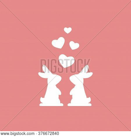 Two White Cute Bunnies With Hearts. Love, Romantic, Amour Icon. Rabbits Couple.