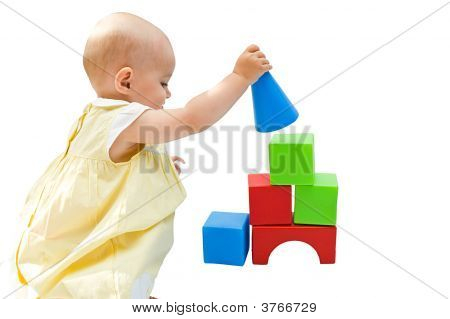 Little Baby Girl Playing With Her Toys