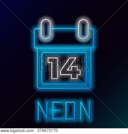 Glowing Neon Line Calendar With February 14 Icon Isolated On Black Background. Valentines Day. Love