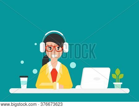 Cute Smiling Teacher Or Tutor With Laptop And Headset Or Earphone. Internet Learning.