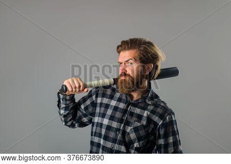 Baseball Game. Sport Bat. Sport Equipment. Games With Balls. Man With Baseball Bat. Man Holds The Ba