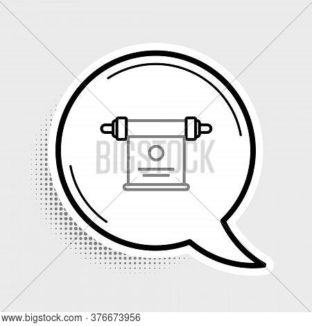 Line Magic Scroll Icon Isolated On Grey Background. Decree, Paper, Parchment, Scroll Icon. Colorful