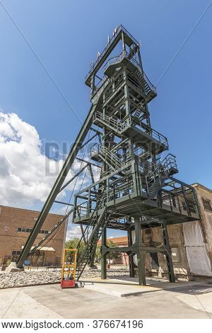 Labin, Croatia - June 6, 2020: Renovated Old Mining Tower Called Šoht Built 1938, In Labin, Croatia