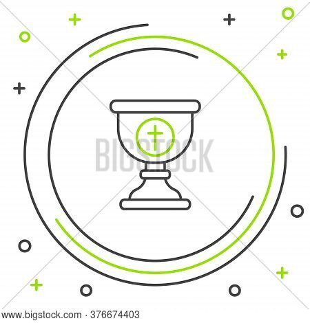 Line Christian Chalice Icon Isolated On White Background. Christianity Icon. Happy Easter. Colorful