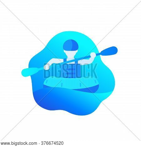Rafting Icon With Man In A Raft With Paddle, Eps 10 File, Easy To Edit