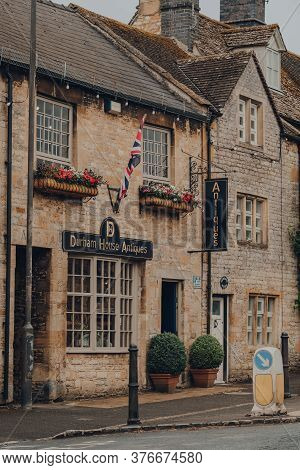 Stow-on-the-wold, Uk - July 6, 2020: Facade Of The Durham House Antiques In Stow-on-the-wold, A Mark