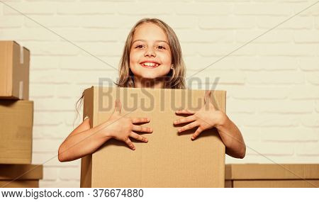 Home Is Where Root Grow Deep. Rent Concept. Repair Annd Relocate. Happy Childhood. Small Girl Child.