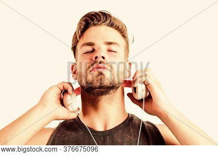 Man Wearing Headphones. Ebook And Online Education. Music Education. Sexy Muscular Man Listen Ebook.
