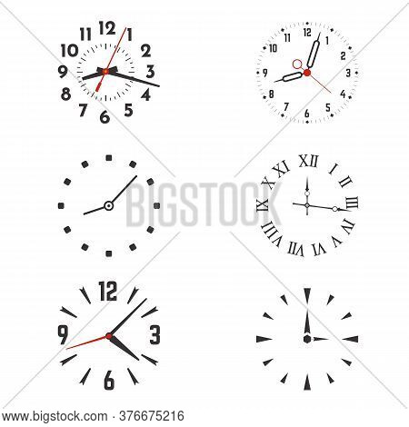 Clock Face With Hands And Roman Or Arabic Dial Numerals. Vector Illustration Set