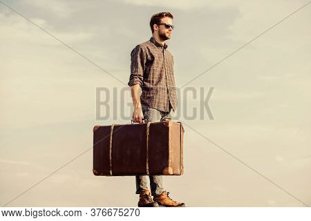 Vacation Time. Travel Agency. Business Trip. Handsome Guy Traveler. Guy Outdoors With Vintage Suitca