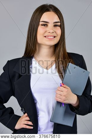 Elegant Smiling Woman In Jacket. Trendy Office Worker. Formal Casual Fashion Style. Stylish Woman Ho