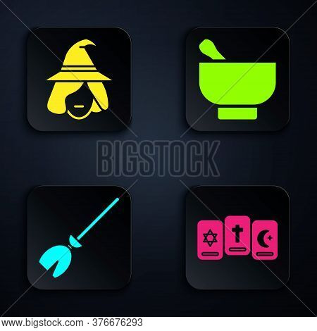 Set Three Tarot Cards, Witch, Witches Broom And Magic Mortar And Pestle. Black Square Button. Vector