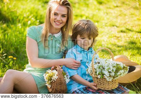 Spring Season. Happy Holidays. Mother And Cute Son Having Fun. Spring Holiday. Weekend Leisure. Expl
