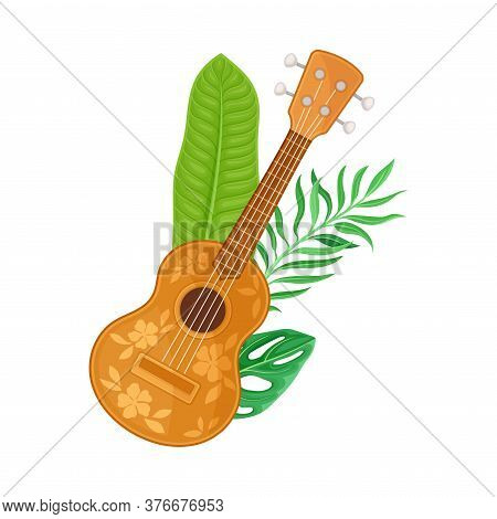 Ukulele Or Wooden Hawaiian Guitar As Musical Stringed Instrument With Green Palm Leaf Vector Illustr