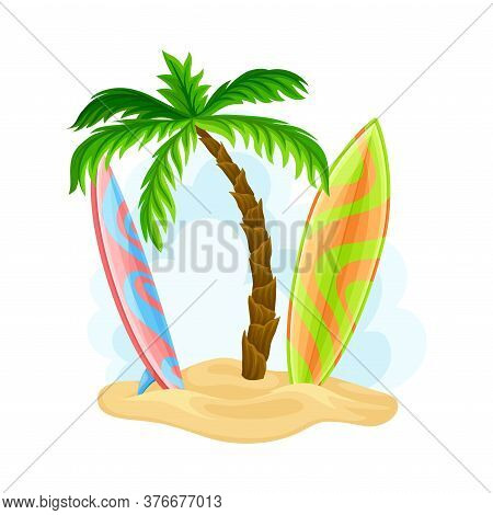 Surfboards For Riding Ocean Waves Rested On Sand With Palm Tree Hawaiian Vector Illustration