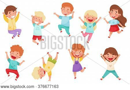 Boy And Girl Characters Jumping High With Joy And Excitement Vector Illustrations Set