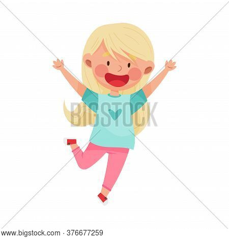 Girl Character With Blonde Hair Jumping High With Joy And Excitement Vector Illustration