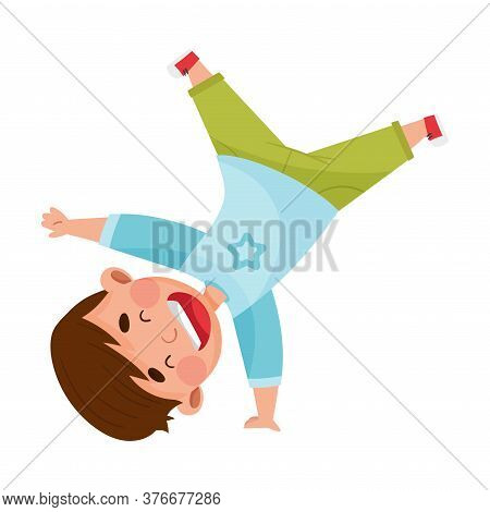 Boy Character Turning Somersaults And Standing Upside Down Joyful And Excited Vector Illustration