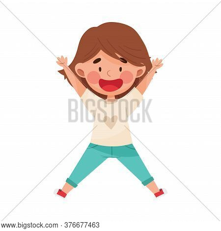 Happy Girl Character With Dark Hair Jumping High With Joy And Excitement Vector Illustration