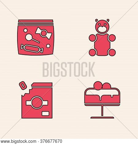 Set Cake On Plate, Candy Packaging For Sweets, Jelly Bear Candy And Icon. Vector