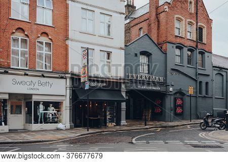 London, Uk - July 02, 2020: Shop, Restaurant And Everyman Cinema On An Empty Hampstead Street In The