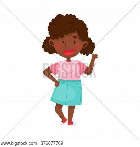 Smiling Girl Character Greeting Waving Hand And Saying Hi Vector Illustration