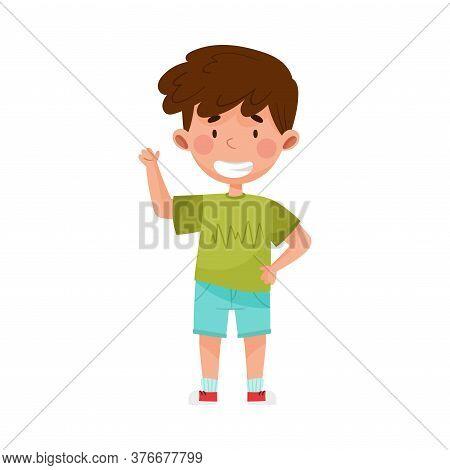 Smiling Boy Character In Shorts Greeting Waving Hand And Saying Hi Vector Illustration