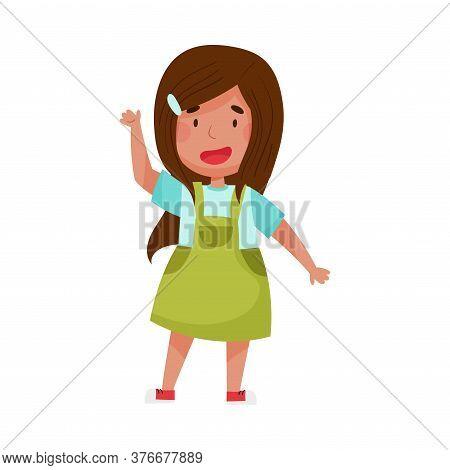 Cheerful Girl Character With Dark Hair Greeting Waving Hand And Saying Hi Vector Illustration