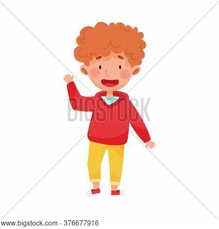 Cheerful Boy Character With Red Hair Greeting Waving Hand And Saying Hi Vector Illustration