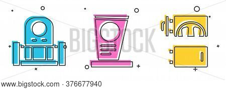 Set Grave With Tombstone, Grave With Tombstone And Crematorium Icon. Vector