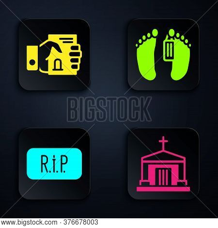 Set Old Crypt, Death Certificate In Hand, Speech Bubble Rip Death And Dead Body. Black Square Button