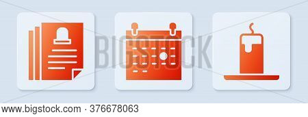 Set Calendar Death, Death Certificate And Burning Candle. White Square Button. Vector