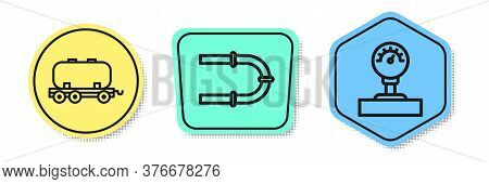 Set Line Oil Railway Cistern, Industry Pipe And Gauge Scale. Colored Shapes. Vector