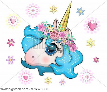 Cute Unicorn Muzzle With Beautiful Eyes And A Developing Mane On The Background Of Flowers, Children