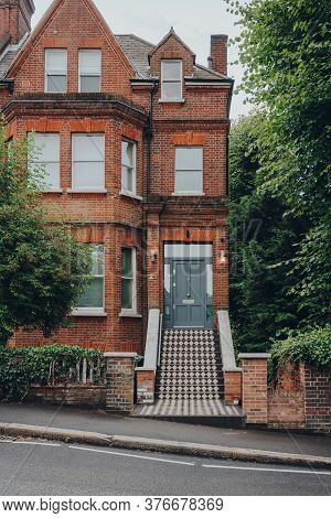 London, Uk - July 02, 2020: Facade Of Traditional English House With A Tiled Stoop In Hampstead, An