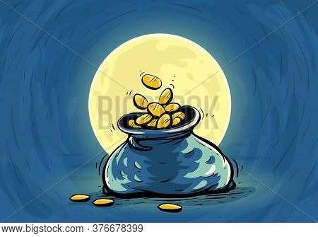Full Sack With Gold Coins. Hand Drawn Outline Contour, Draft On Blue Sky Background With Bright Fool
