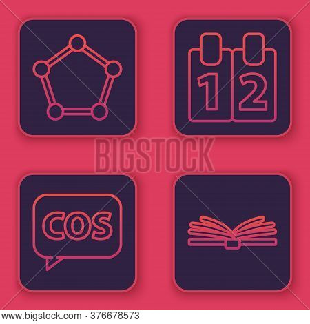 Set Line Geometric Figure Sphere, Tablet With Calculator, Mathematics Function Cosine And Mobile Cal